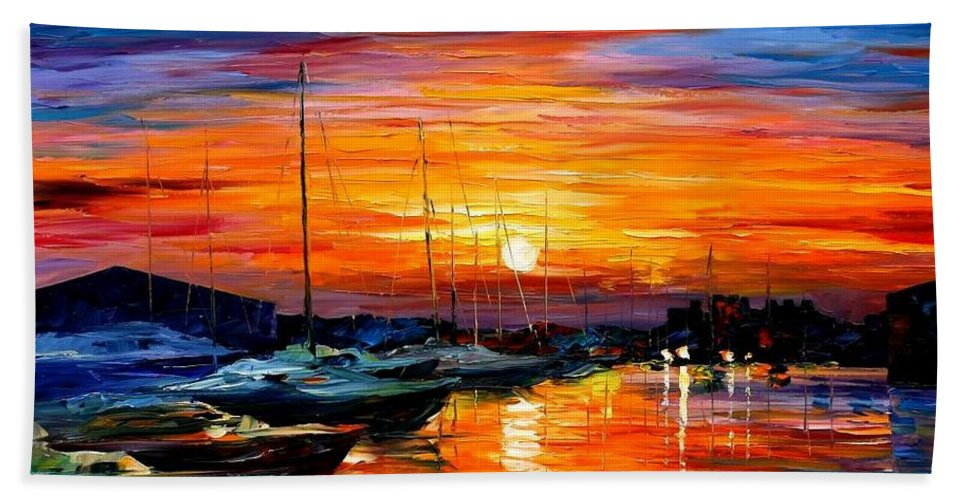 Afremov Hand Towel featuring the painting Sicily - Harbor Of Syracuse by Leonid Afremov