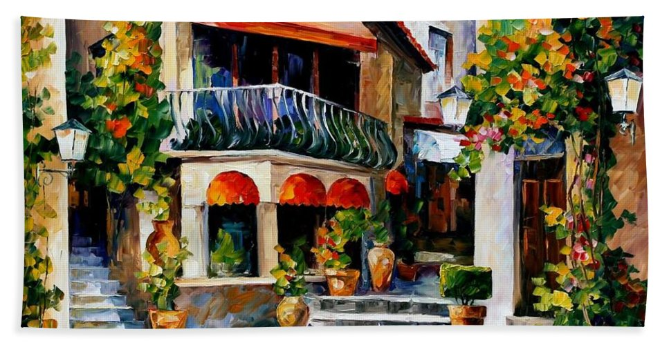 Afremov Bath Sheet featuring the painting Sicily - Spring Morning by Leonid Afremov