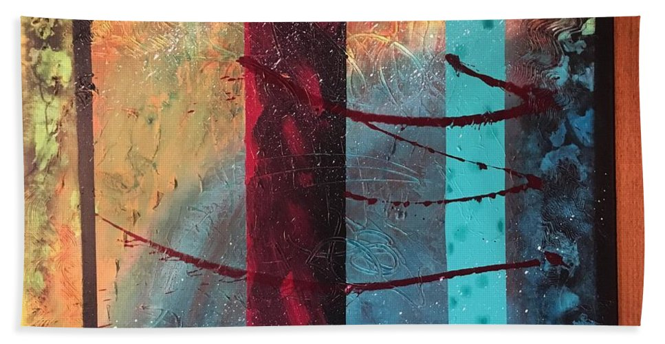 Abstract Hand Towel featuring the painting Sicily by Michael Walters