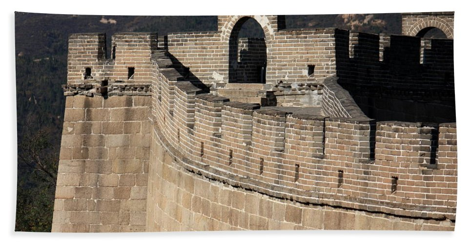 The Great Wall Of China Hand Towel featuring the photograph Side View Of The Great Wall by Carol Groenen