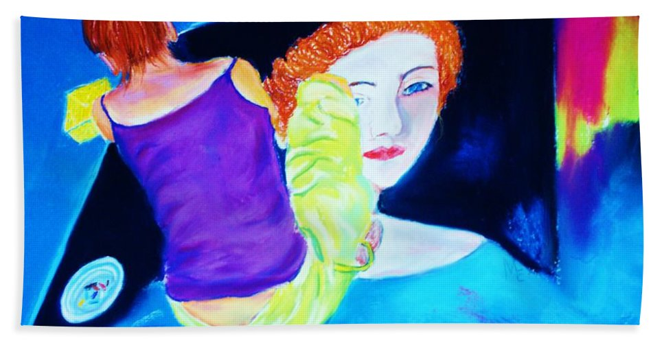 Painting Within A Painting Hand Towel featuring the print Sidewalk Artist II by Melinda Etzold