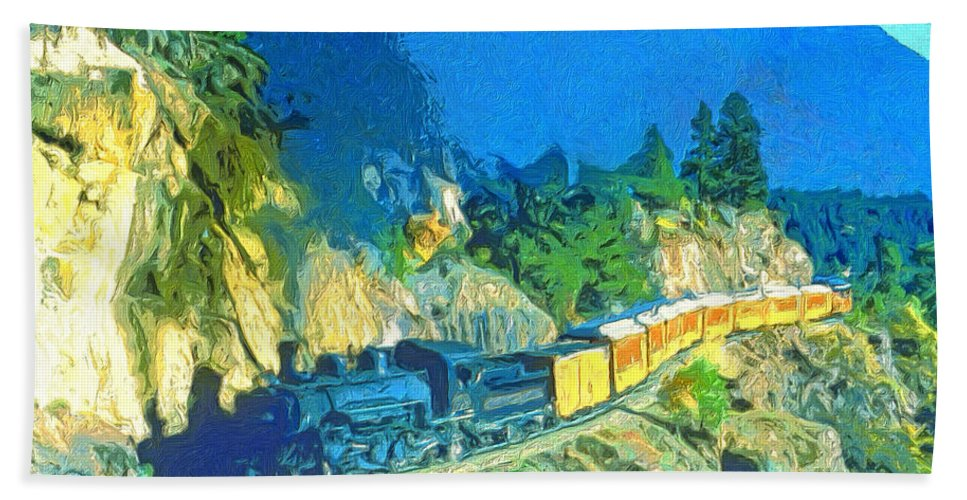 Train Hand Towel featuring the painting Sidewinder by Dominic Piperata