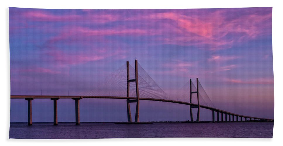 Cliff Middlebrook Bath Sheet featuring the painting Sidney Lanier Bridge by Cliff Middlebrook
