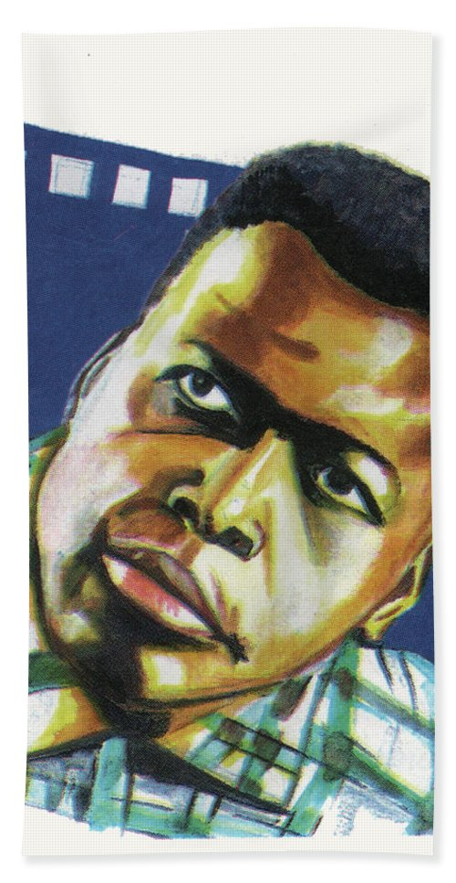Portraits Bath Sheet featuring the painting Sidney Poitier by Emmanuel Baliyanga