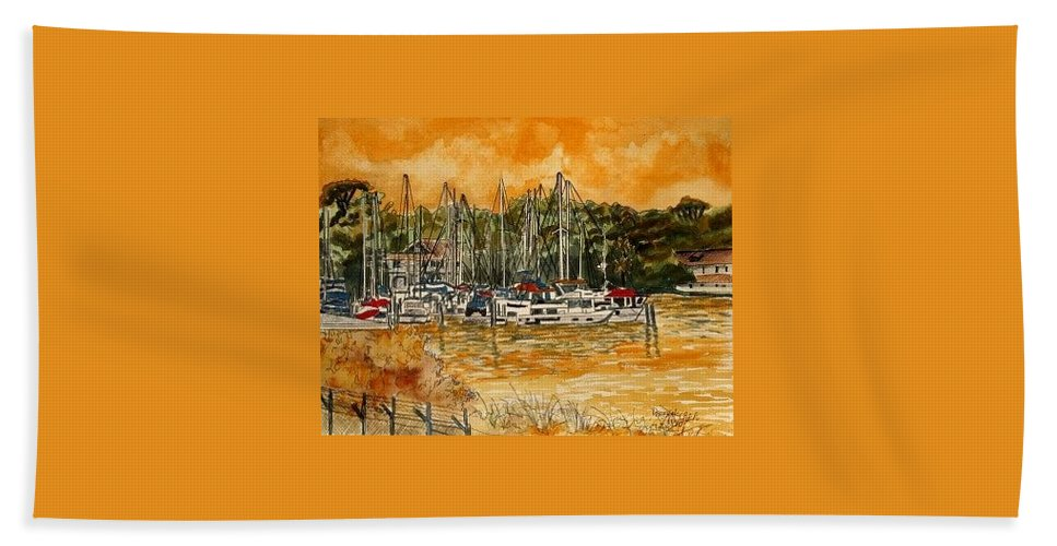 Sailboat Hand Towel featuring the painting Sienna Sky Boat Marina Nautical Art by Derek Mccrea