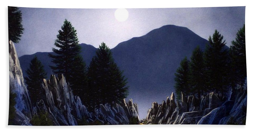 Mountains Hand Towel featuring the painting Sierra Moonrise by Frank Wilson