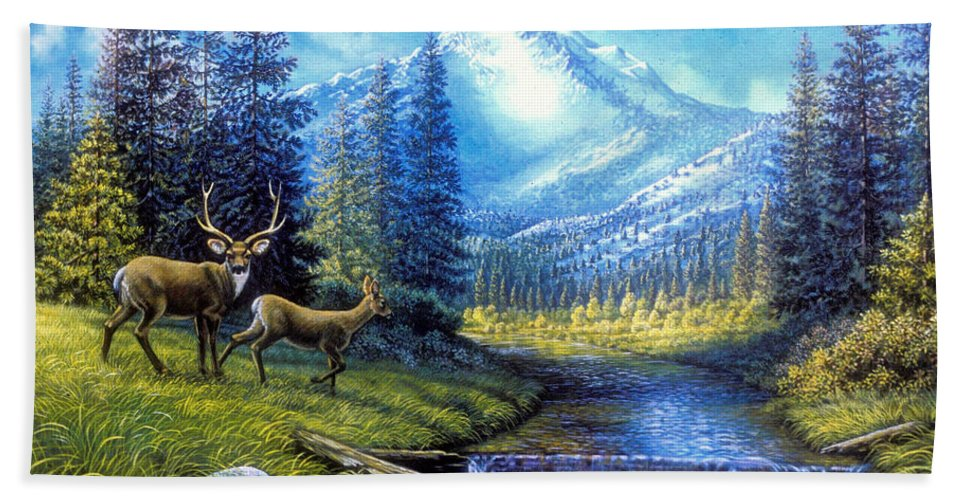 Landscape Bath Sheet featuring the painting Sierra Mountain Meadow  by Elaine Bawden