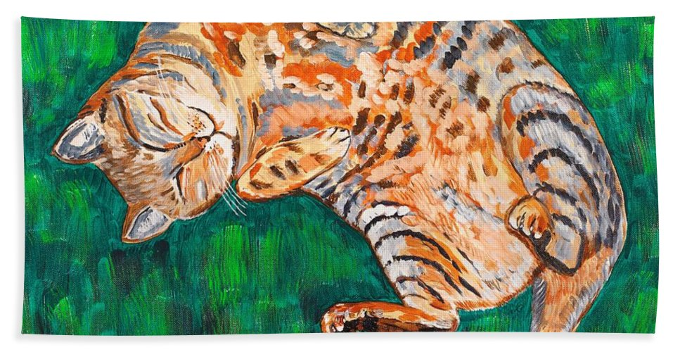 Siesta Bath Towel featuring the painting Siesta by Valerie Ornstein