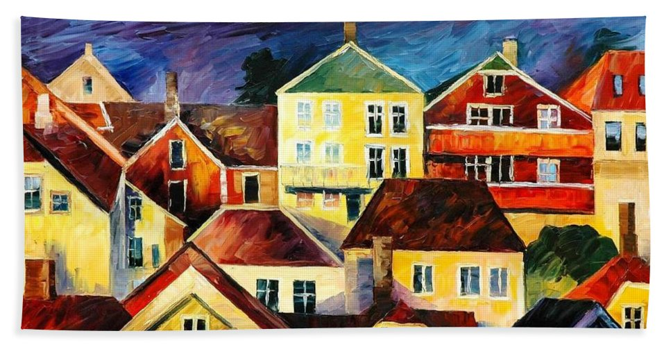 Art Gallery Bath Sheet featuring the painting Sight From Above - Palette Knife Oil Painting On Canvas By Leonid Afremov by Leonid Afremov