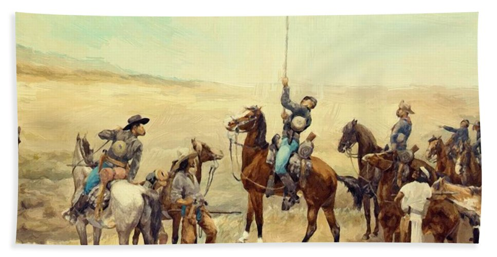 Signaling Hand Towel featuring the painting Signaling The Main Command 1885 by Remington Frederic
