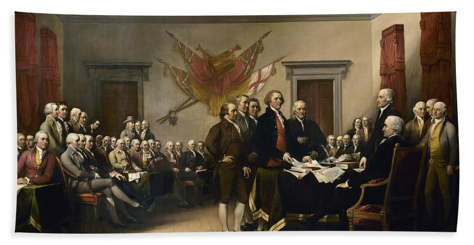 Declaration Of Independence Bath Towel featuring the painting Signing The Declaration Of Independence 2 by War Is Hell Store
