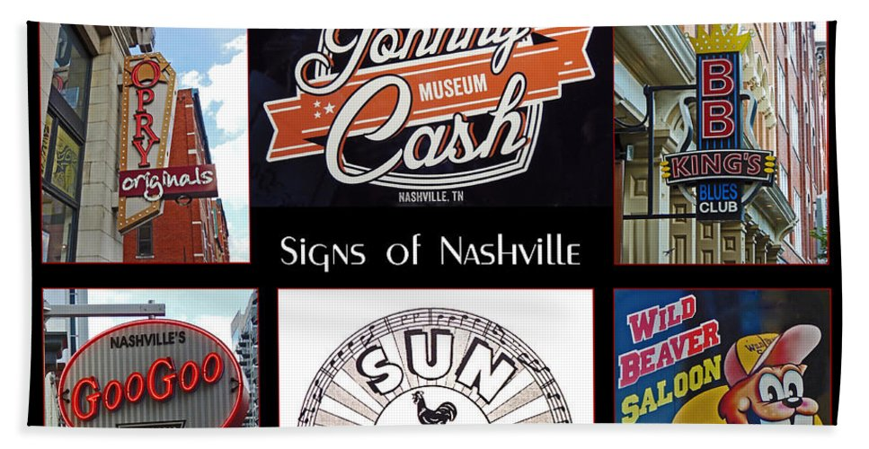 Poster Hand Towel featuring the photograph Signs Of Nashville by Marian Bell
