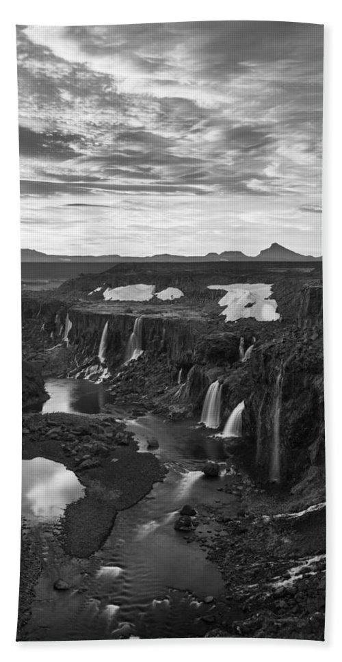 Sigoldufoss Bath Sheet featuring the photograph Sigoldufoss Waterfalls Iceland 1291 by Bob Neiman