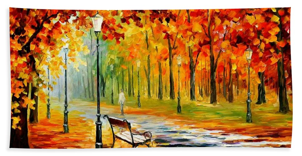 Afremov Bath Sheet featuring the painting Silence Of The Fall by Leonid Afremov
