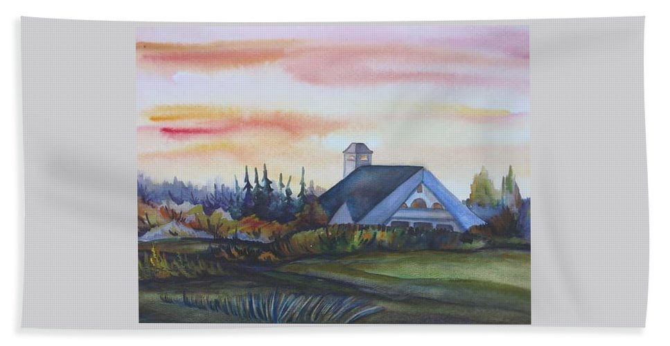 Watercolor Bath Sheet featuring the painting Silence Upon Midnapore by Anna Duyunova