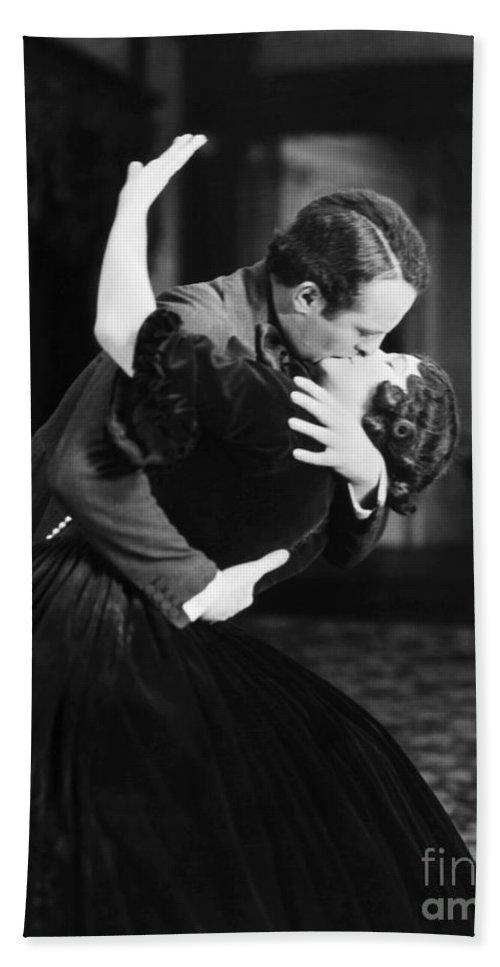 -kissing- Bath Sheet featuring the photograph Silent Film Still by Granger