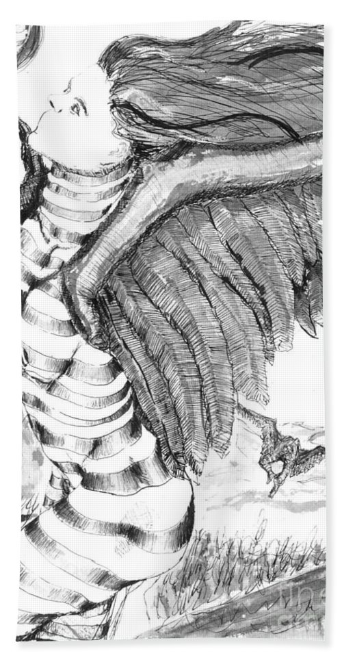 Surreal Hand Towel featuring the drawing Silent Flight by Ron Bissett