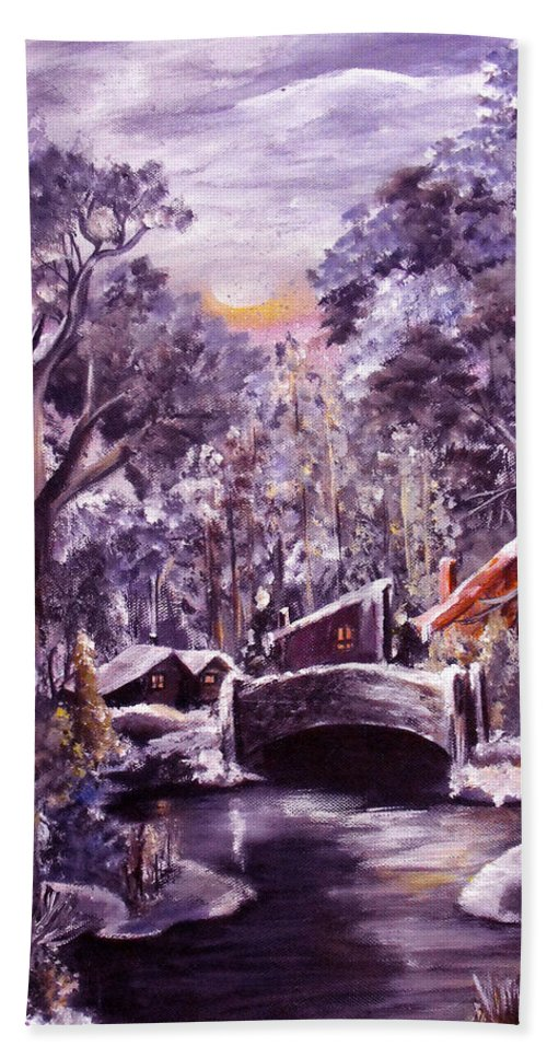 Landscape Hand Towel featuring the painting Silent Night by Ruth Palmer