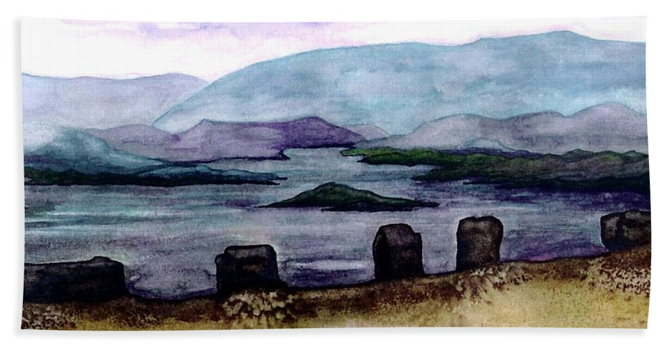 Original Painting Bath Towel featuring the painting Silent Sentinels by Patricia Griffin Brett