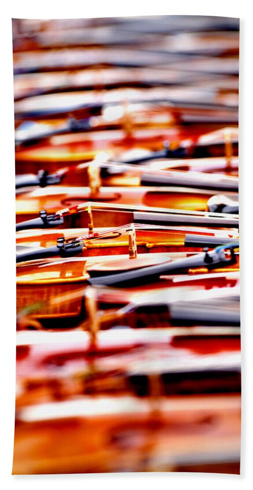 Violins Hand Towel featuring the photograph Silent Symphony by Greg Fortier