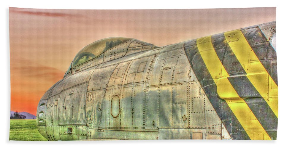 North American F-86 Sabre Hand Towel featuring the photograph Silent Warrior by Tommy Anderson