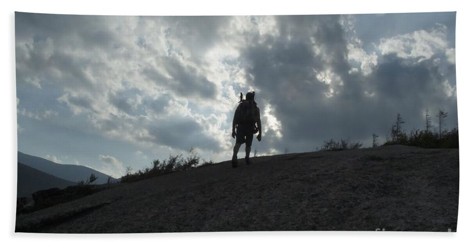 Silhouette Bath Sheet featuring the photograph Silhouette Of A Hiker On Middle Sugarloaf Mountain - White Mountains New Hampshire Usa by Erin Paul Donovan