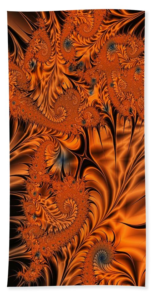 Silk Bath Towel featuring the digital art Silk in Orange by Ron Bissett