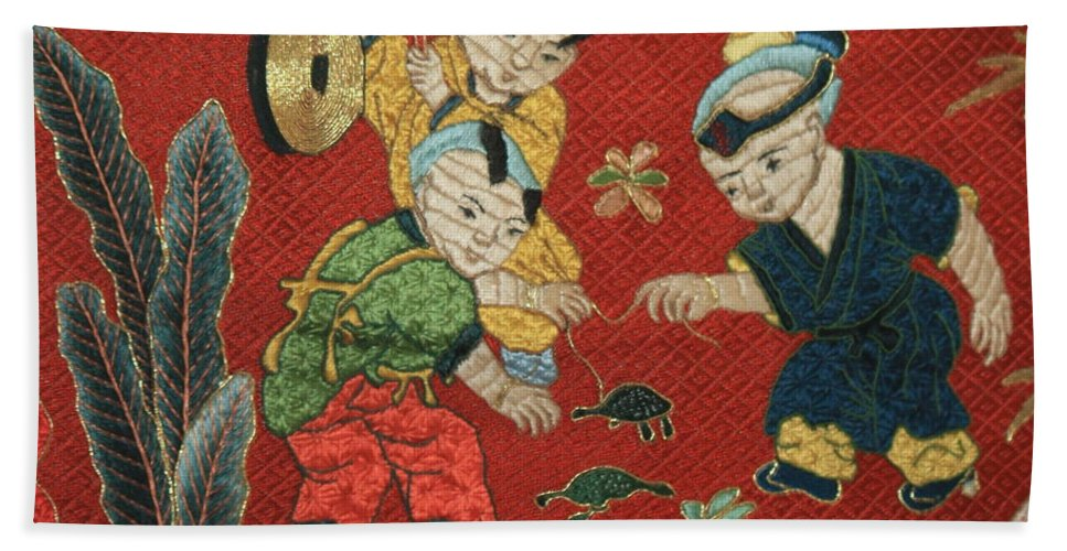Children Playing Bath Sheet featuring the photograph Silk Robe - Children Playing With Turtle by Carol Groenen