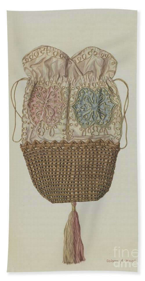 Hand Towel featuring the drawing Silk-straw Reticule by Dolores Haupt