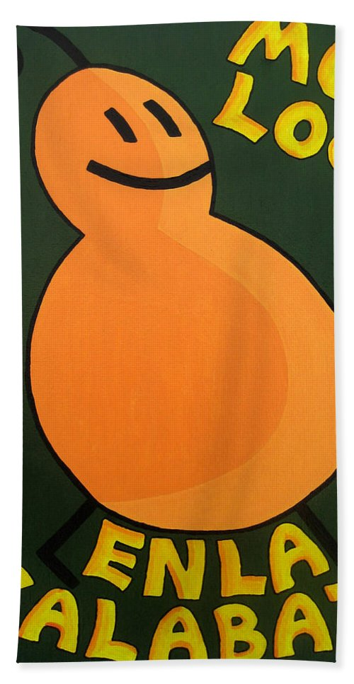 Orange Bath Sheet featuring the painting Silly Squash by Oliver Johnston
