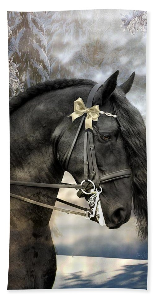 Friesian In Snow Bath Sheet featuring the mixed media Silver And Gold by Fran J Scott