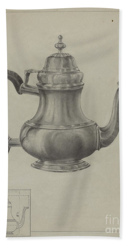 Hand Towel featuring the drawing Silver Coffee Pot by American 20th Century