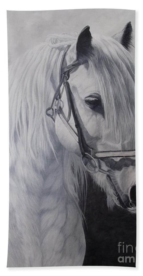 Portrait Bath Sheet featuring the painting Silver-gypsy Cob by Pauline Sharp