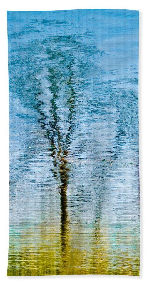 Silver Hand Towel featuring the photograph Silver Lake Tree Reflection by Michael Bessler