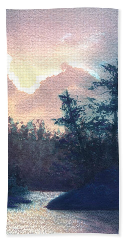 Landscape Bath Towel featuring the painting Silver Lining by Lynn Quinn