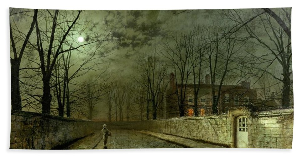 Silver Moonlight Bath Towel featuring the painting Silver Moonlight by John Atkinson Grimshaw
