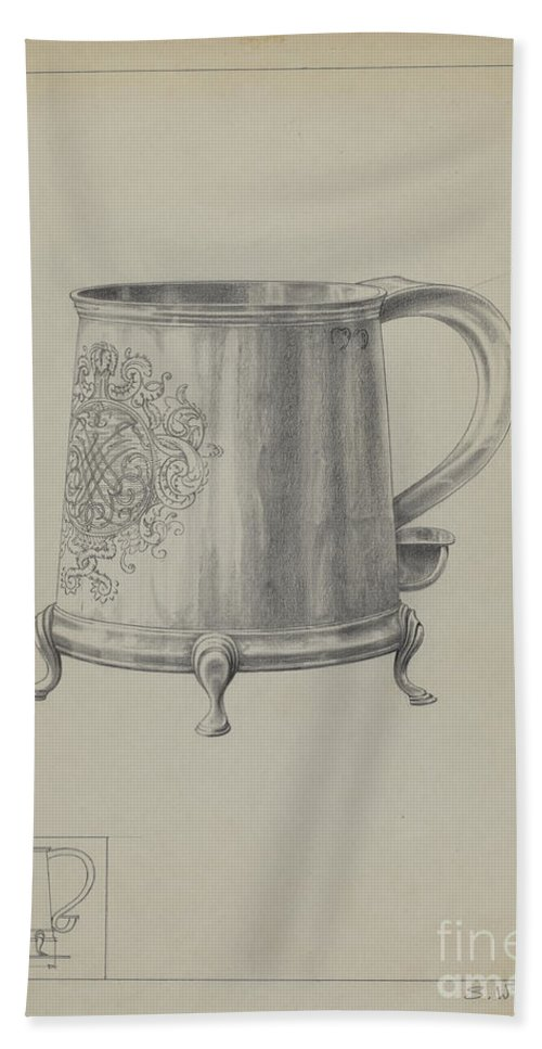 Hand Towel featuring the drawing Silver Mug by Simon Weiss And Charlotte Winter