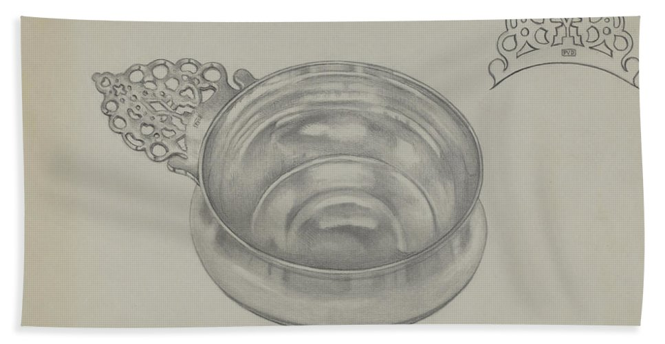 Hand Towel featuring the drawing Silver Porringer by Herbert Russin