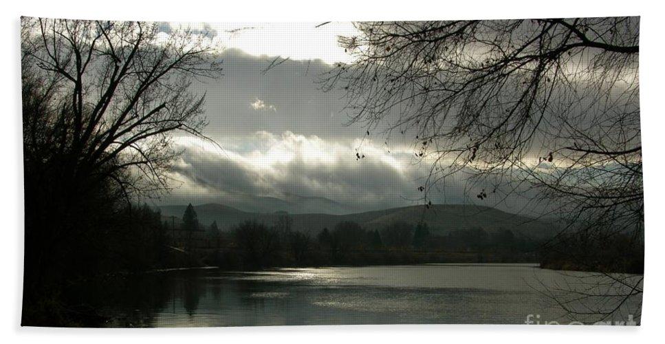 Prosser Bath Sheet featuring the photograph Silver River by Carol Groenen