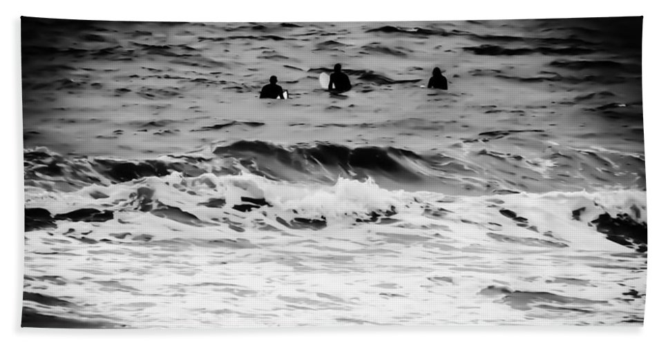 Silver Hand Towel featuring the photograph Silver Surfers by Heather Joyce Morrill