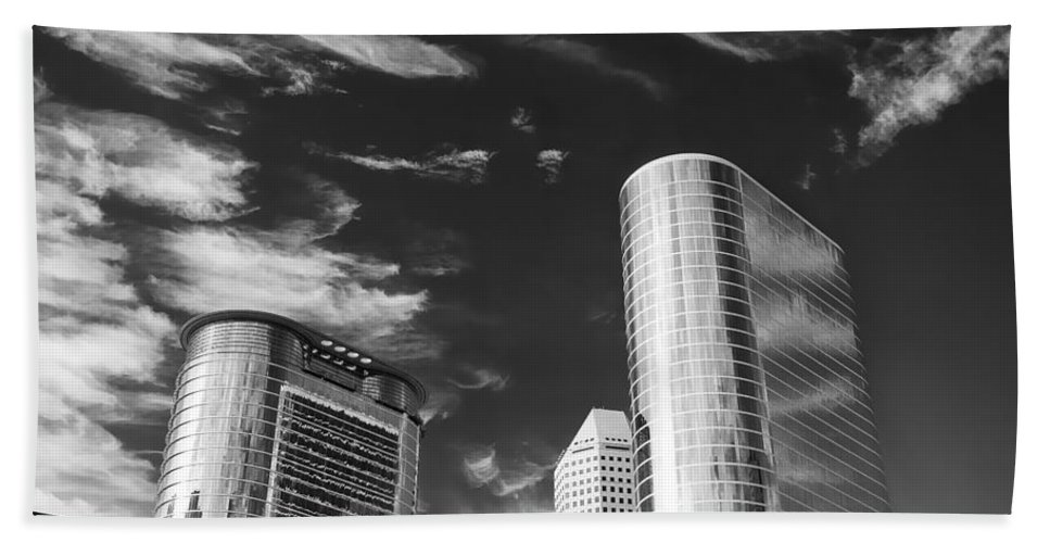 Houston Hand Towel featuring the photograph Silver Towers by Dave Bowman