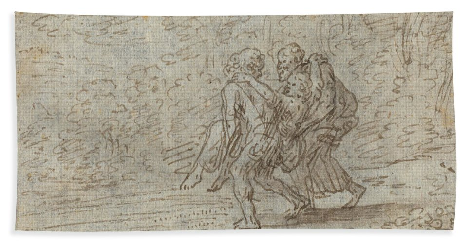 Hand Towel featuring the drawing Silvio, Dorinda And Linco by Johann Wilhelm Baur
