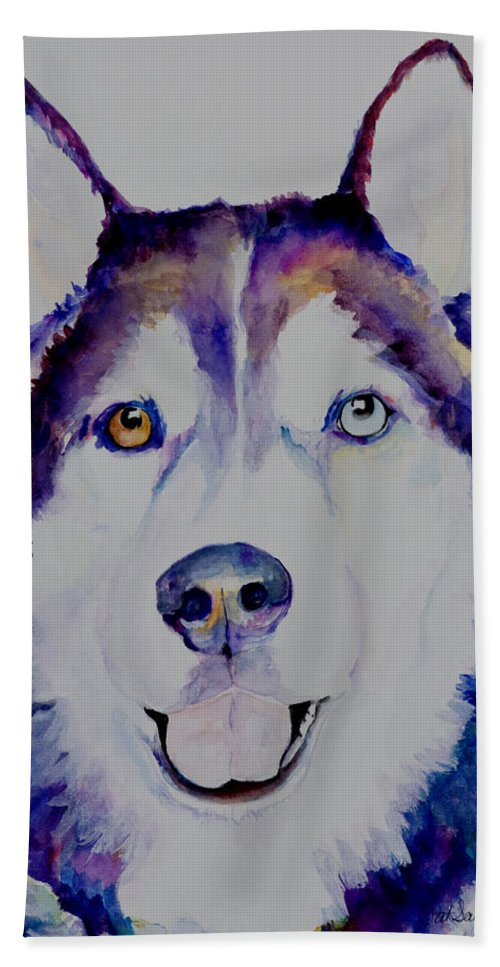 Siberian Husky Bath Sheet featuring the painting Simba by Pat Saunders-White