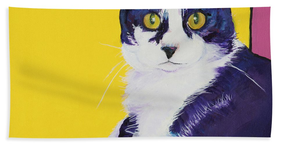 Tuxedo Cat Hand Towel featuring the painting Simon by Pat Saunders-White