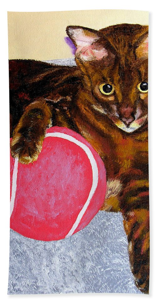 Cat Hand Towel featuring the painting Simon by Stan Hamilton