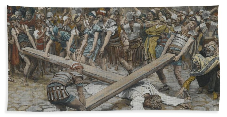 Life Of Christ; Passion; Simon Of Cyrene; Christ Fallen; Lying Face Down; Humiliated; Road To Calvary; Pushed; Forced; Angry Mob; Crowd; Roman Soldiers; Tissot Hand Towel featuring the painting Simon The Cyrenian Compelled To Carry The Cross With Jesus by Tissot