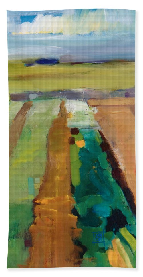 Impressionistic Landscape Bath Sheet featuring the painting Simple Fields by Michele Norris