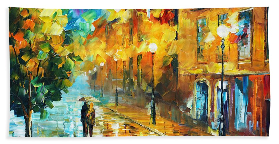 Afremov Hand Towel featuring the painting Simple Life by Leonid Afremov