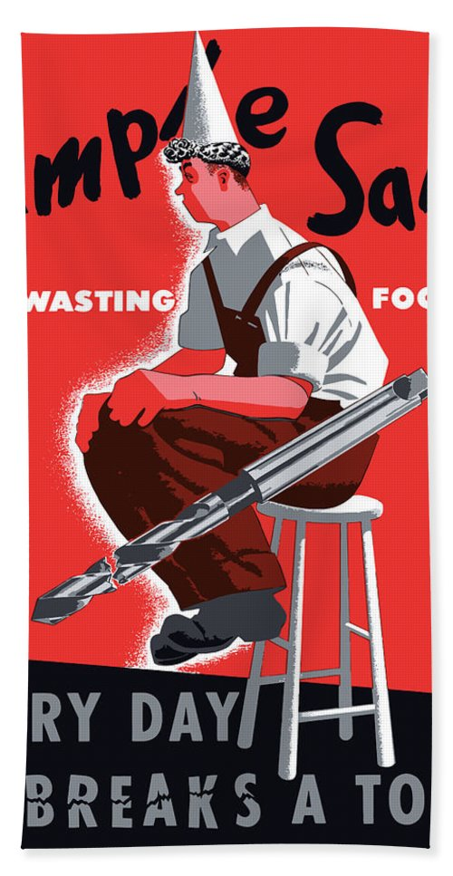 World War Ii Bath Sheet featuring the painting Simple Sam The Wasting Fool by War Is Hell Store