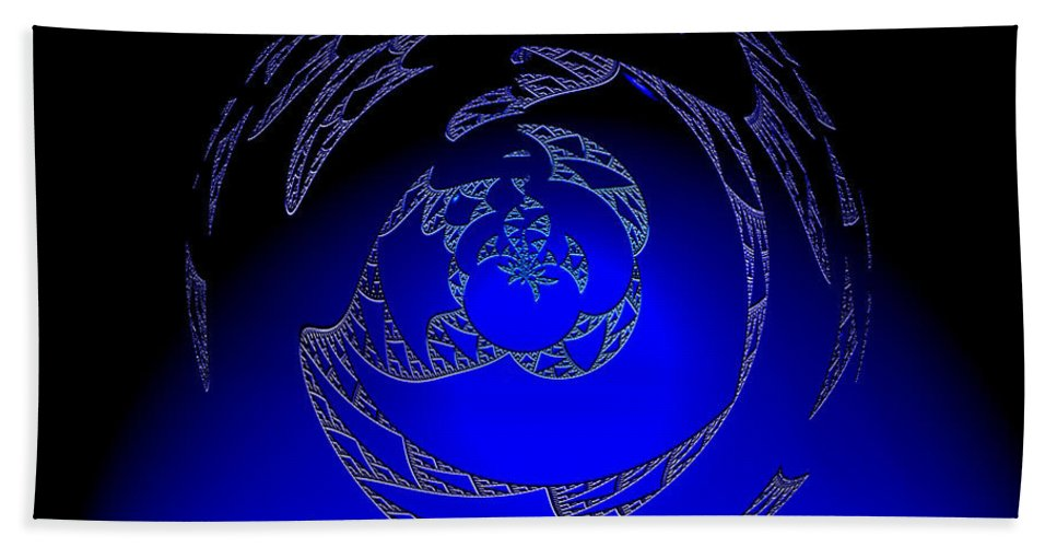 Blue Triangle Outter Space Abstract Worlds Galaxy Portal Bath Sheet featuring the digital art Simply Blue by Andrea Lawrence